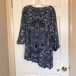 Avenue blue print roll up sleeve top